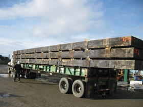 Jenny Creek Bridge glulams loaded to move overland to Wisconsin.