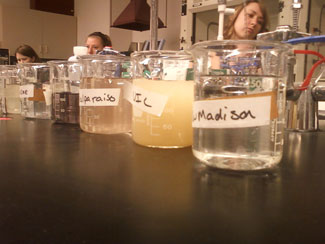 Filtered water samples.