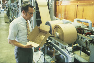FPL employee Vance Setterholm in the pilot plant, circa 1980