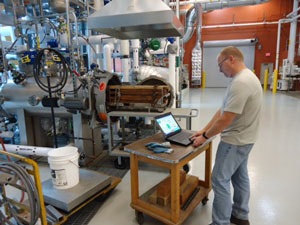 FPL's Steve Halverson working in the pressure treatment facility.