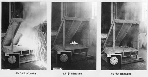 Fire retardant test at FPL, 1940s.