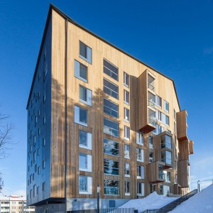 The Finlandia Prize-winning Puukuokka apartment building was built with prefabricated modules of CLT.