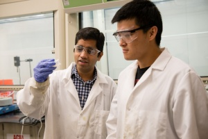 Srikanth Pilla, left, works with a graduate student in their lab. (Photo credit: Clemson University)